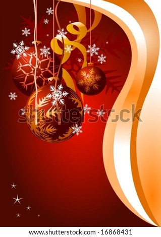 Christmas card. Celebration background with Christmas ball