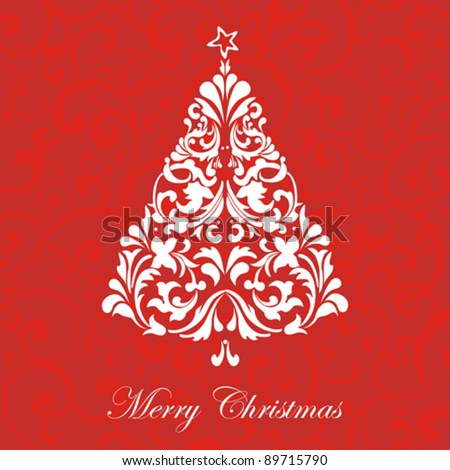 Christmas card.  Celebration background with  tree and place for your text. vector illustration - stock vector