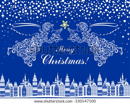 Christmas card. Celebration blue background with Angel, Christmas star and Old city. vector illustration - stock vector