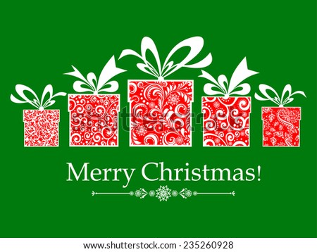 Christmas card. Celebration green background with gift boxes and place for your text. vector illustration  - stock vector
