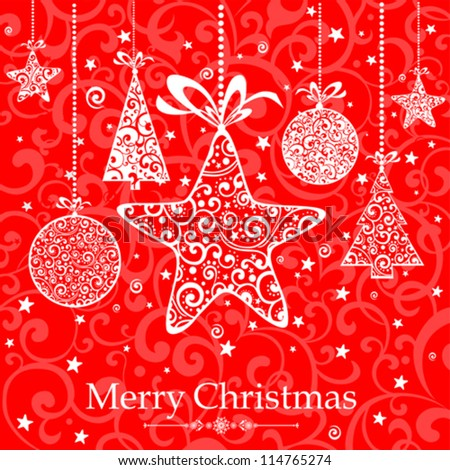 Christmas card. Celebration red background with Christmas tree, balls, Star and place for your text. vector illustration - stock vector