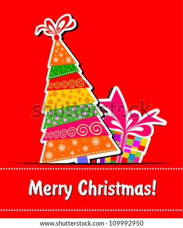 Christmas card. Celebration red background with Christmas tree, gift boxes and place for your text. vector illustration - stock vector