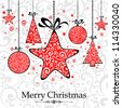 Christmas Card. Christmas background with baubles. Vector Illustration - stock vector