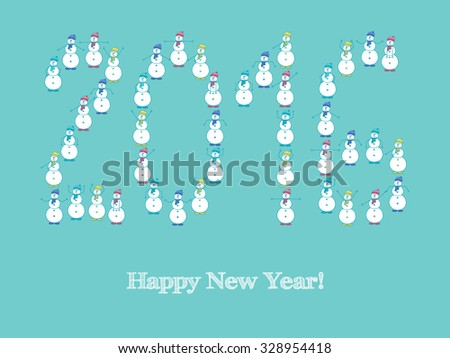 Christmas card. Christmas card with a snowman painted by hand, which make gymnastics. Christmas background for your design. - stock vector