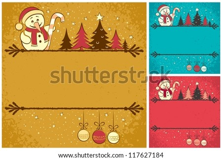 Christmas Card 4: Christmas card with snowman, Christmas tree, baubles and copy space for your text. It is in 3 color version. No transparency and gradients used. - stock vector