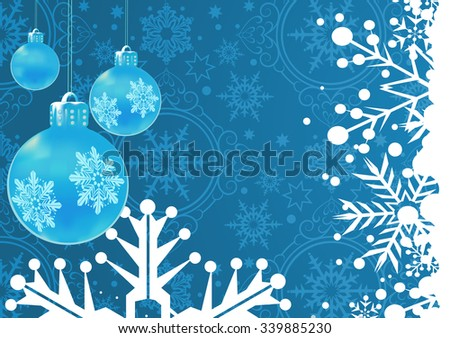 Christmas card, Christmas decoration frame, Snowflake Abstract Background, Christmas wallpaper, Holiday background, Blue   - stock vector