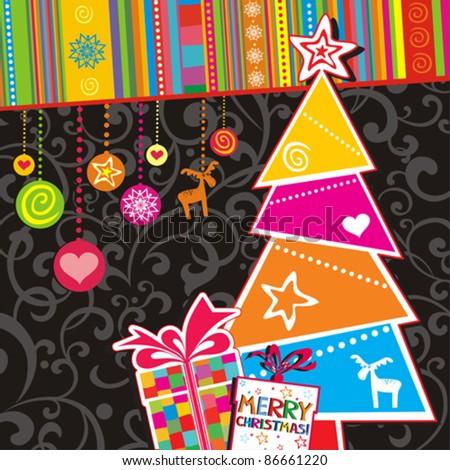 Christmas Card.  Christmas Tree and Gifts. Vector Illustration - stock vector