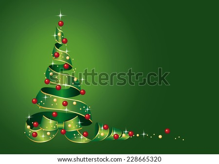 Christmas Card Christmas tree from ribbon with Christmas balls, Vector illustration on green background - stock vector