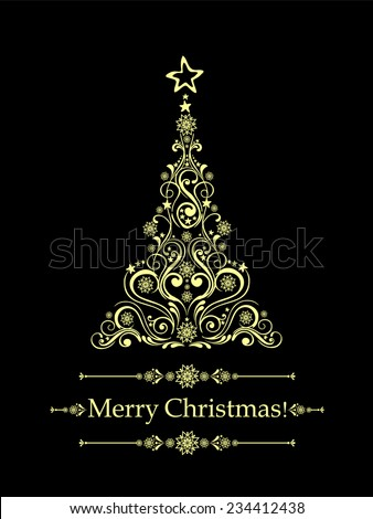Christmas card. Christmas tree. Vector Illustration  - stock vector