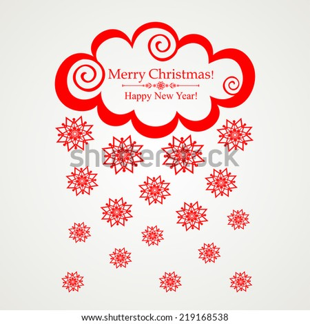 Christmas card.  clouds with snow on white background. Vector Illustration  - stock vector