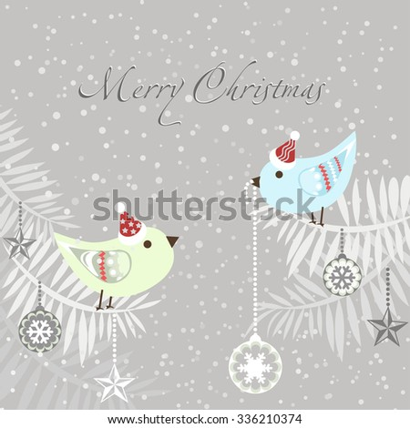 Christmas card. Cute Christmas Birds with Christmas balls and decoration. Vector illustration.