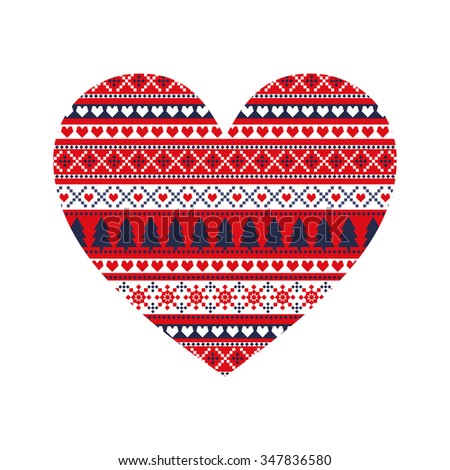 Christmas card. Cute xmas heart with winter decorative sweater style ornament. Happy New Year illustration. Fashion print. - stock vector