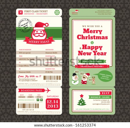 Christmas Card Design Boarding Pass Ticket Template - stock vector