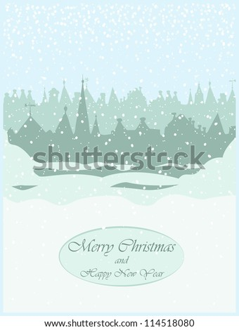 Christmas card design, old town - stock vector