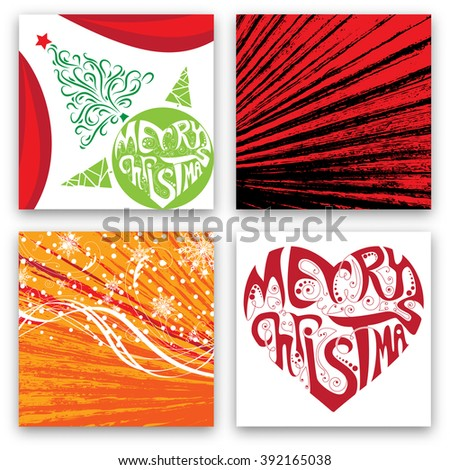 Christmas Card Design Set - Collection of Elegant Stylish Greetings with Typographic Elements
