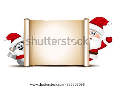Christmas card design template. Santa and cat.  - stock vector