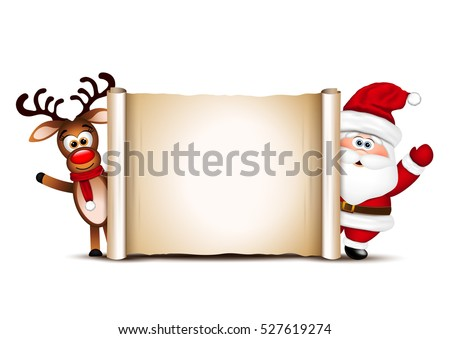 Christmas card design template. Santa Claus and his reindeer.