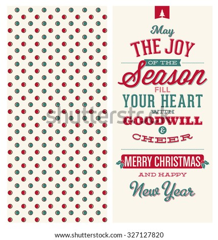 Christmas Card Design - Typographic Greeting - May the Joy of the Season Fill Your Heart with Goodwill and Cheer - Merry Christmas and Happy New Year - stock vector