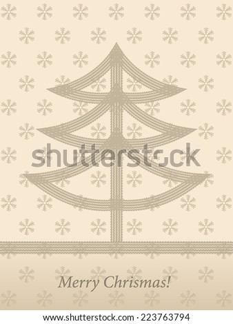 Christmas card design with tire track Christmas tree - stock vector