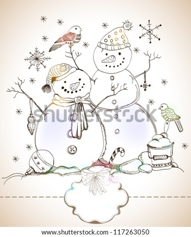 christmas card for xmas design with balls, bird and hand drawn snowmen and label for text, vector - stock vector