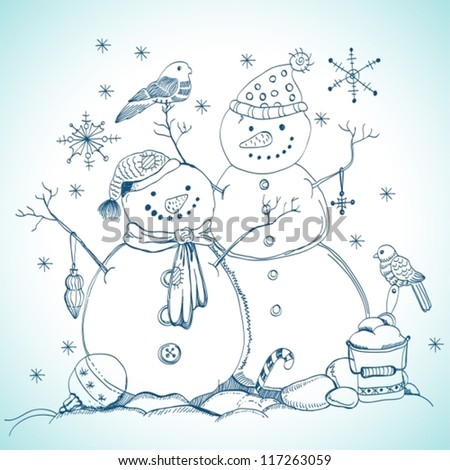 christmas card for xmas design with balls, bird and hand drawn snowmen, vector