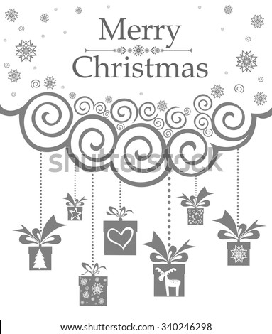 Christmas card. Gifts box on grey background. Vector Illustration - stock vector