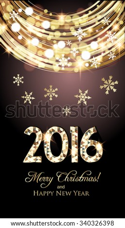 Christmas card, golden lights and snowflakes background - stock vector