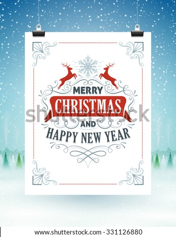 Christmas card hanging on strings with a snowy landscape in the background. - stock vector