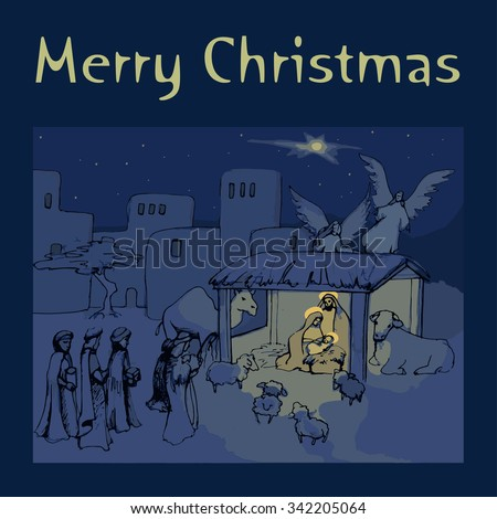 Christmas card.holy family. - stock vector