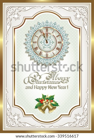 Christmas card in a frame with clock and bells