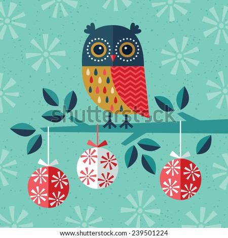 Christmas card, invitation or menu design with festive owl, Christmas baubles and snowflakes in navy blue, gold and red on aqua background.  - stock vector