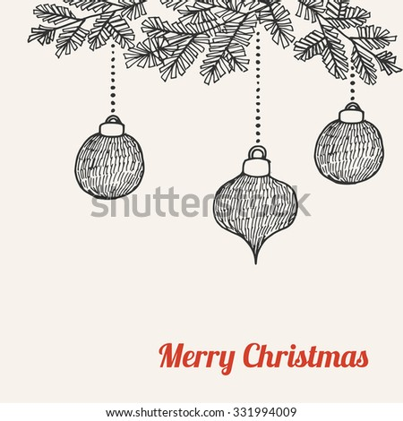 Christmas Card Invitation With Hand Drawn Doodle Balls Baubles And Tree Branches