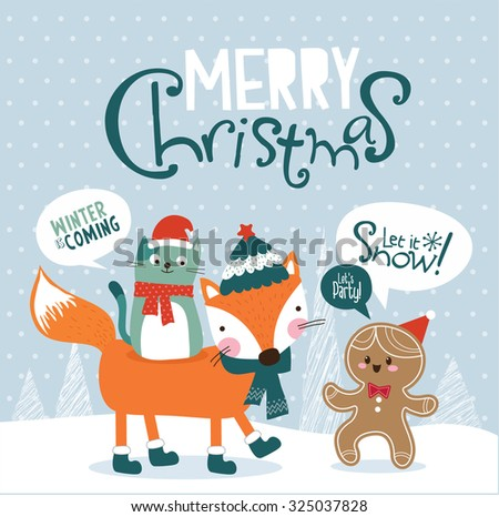 Christmas card. Little fox, cat and gingerbread man. - stock vector