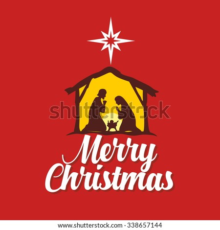 Christmas card. Mary and Joseph with the baby Jesus in Bethlehem - stock vector