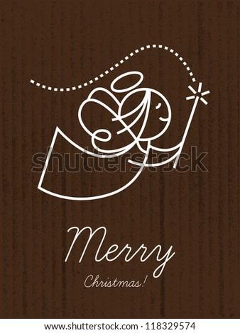 Christmas card, Merry christmas, angel - stock vector