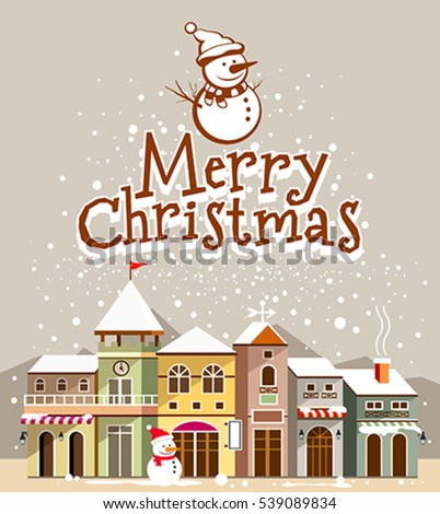 Christmas Card. Merry Christmas lettering with houses snow on background, vector illustration