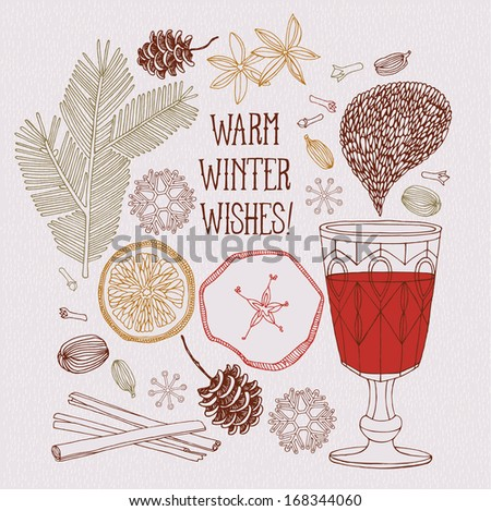 Christmas card. Mulled wine. - stock vector