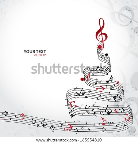 Christmas card. Musical christmas tree isolated on white background. Vector Illustration - stock vector