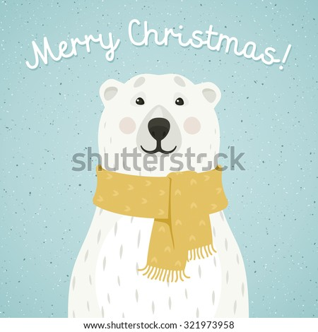 Christmas card of polar bear with scarf - stock vector