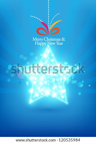 Christmas card on blue background(star) - stock vector