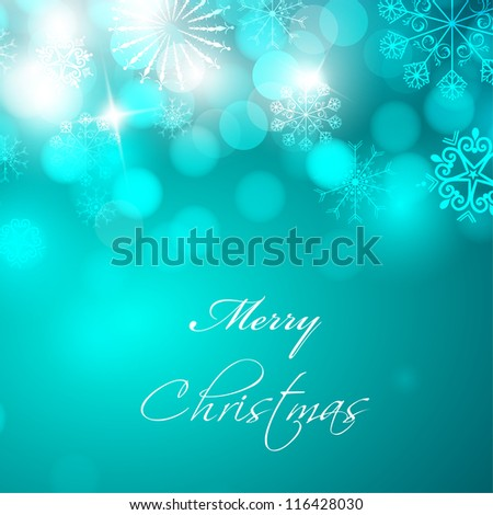 Christmas card or background with decorative snowflakes and lights. EPS 10. - stock vector
