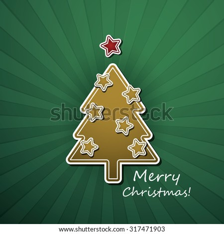Christmas Card or Cover Template Design with Decorated Gingerbread Christmas Tree and Merry Christmas Text