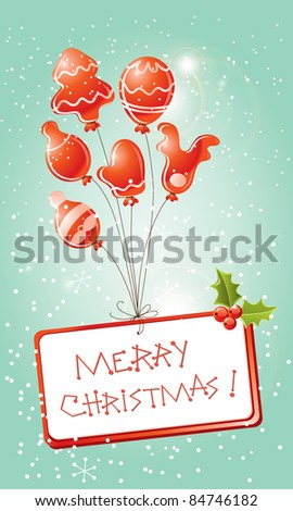 christmas card red balloons - stock vector