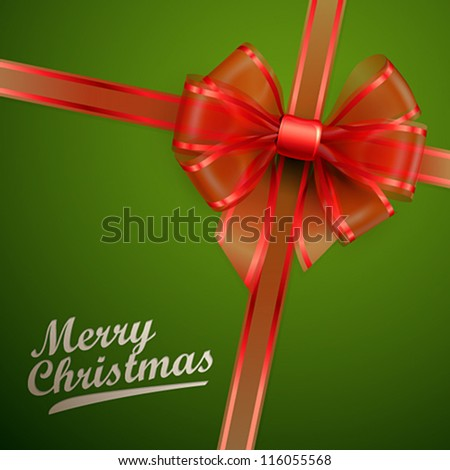 Christmas card - Red transparent bow. Vector illustration. - stock vector