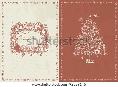 Christmas card retro for your design - stock vector