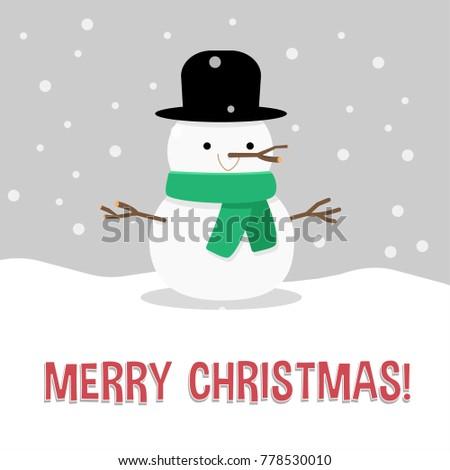 christmas card salutation snowman illustration flat stock vector