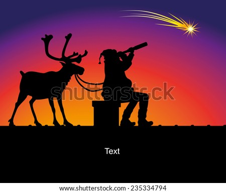 christmas card - santa claus and reindeer on the roof - stock vector