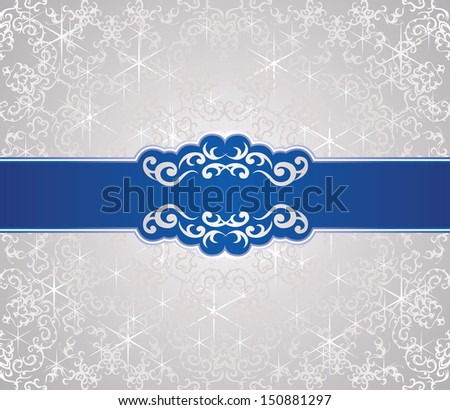 Christmas card. Seamless background with blue ribbon. Winter design. Vintage frame