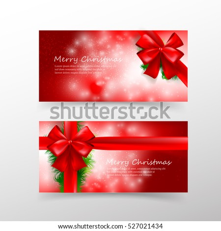 Christmas card template for invitation and gift voucher with red ribbon and lighting effect element vector illustration eps10