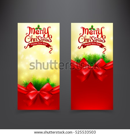 Christmas card template for invitation and gift voucher with red ribbon vector illustration eps10